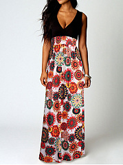 V-Neck  Elastic Waist Patchwork  Printed Maxi Dress