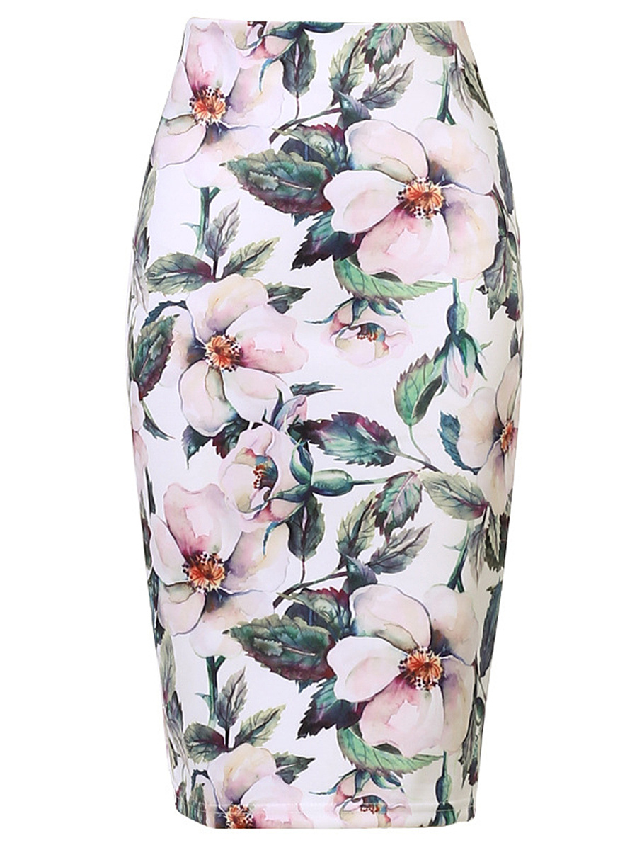Chic Floral Printed Slit Pencil Midi Skirt