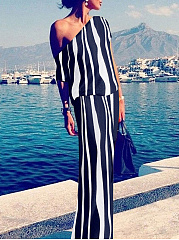Sexy Off Shoulder Stripe Maxi Shift Dress