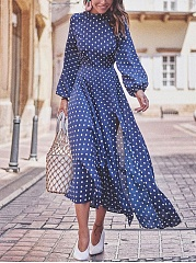Fashion Round Collar Blue Dot Slit Maxi Dress
