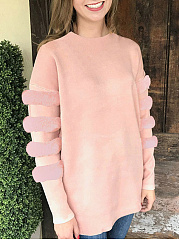 Patchwork  Plain  Long Sleeve Sweatshirts