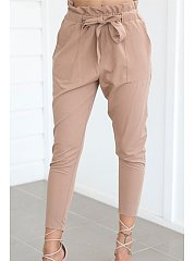 Belt Plain Slim Leg Pant