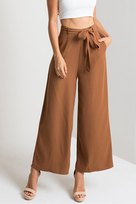 casual basic office spring summer autumn long casual pants Belt High Rise Waist Wide Leg Pant