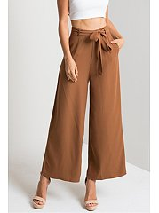 Belt High Rise Waist Wide Leg Pant