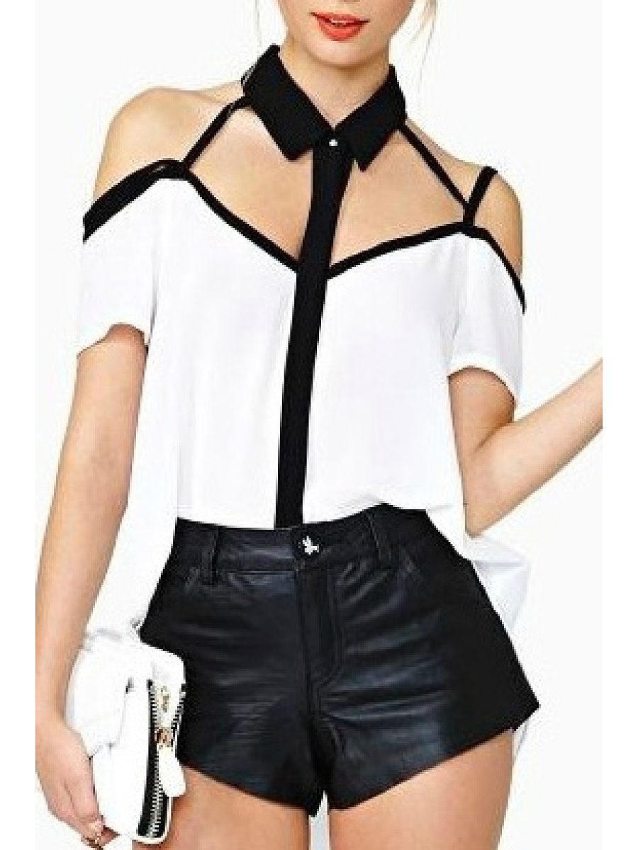 Polo Collar Cutout Color Block Blouse