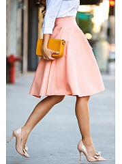 Plain Midi Flared Skirts