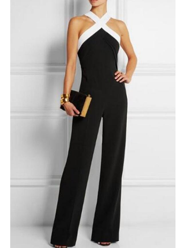 Image of Fashionmia Black Velvet Push Up Wide Leg Jumpsuit