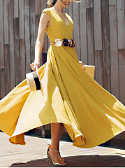 Spring Summer New Arrival V Collar Chiffon Elegant Skater Dress