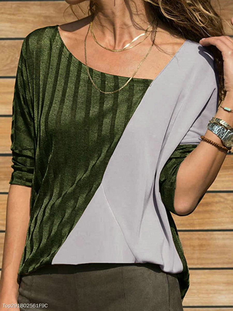 Fashion Color Blocking Asymmetric Neck Long Sleeve T-Shirt