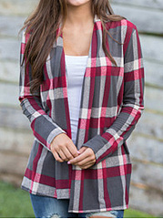 Colorful Check Print Stitching Long Sleeve Cardigan