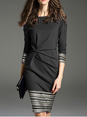 Crew Neck  Inverted Pleat  Contrast Stitching  Bohemian Bodycon Dresses