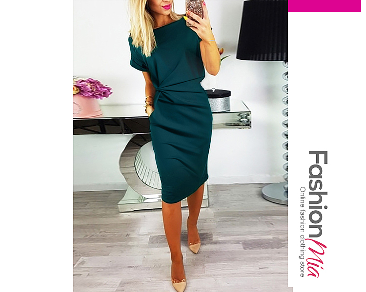 material:polyester, collar&neckline:scoop neck, more_details:bust darts, pattern_type:plain, length:knee-length, dress_silhouette:fitted, package_included:dress*1, lengthbustwaisthip