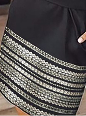 Crew Neck  Belt Contrast Stitching  Bohemian Bodycon Dresses