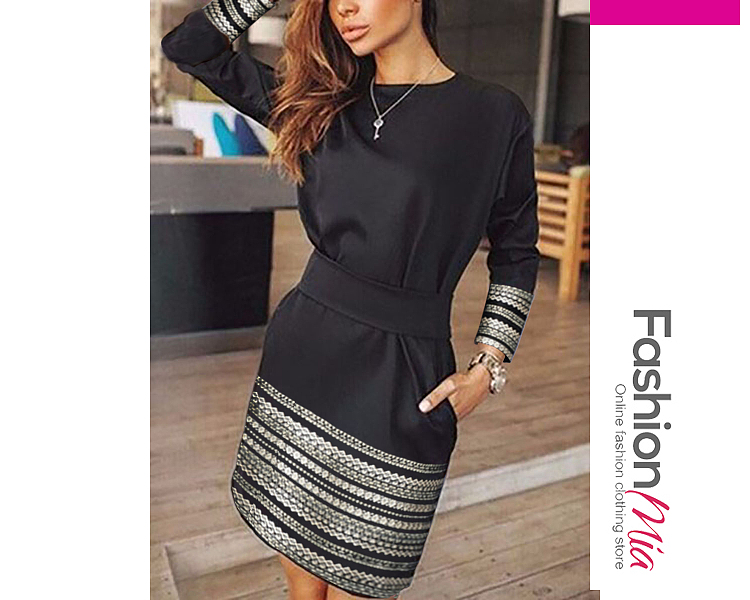 material:polyester, collar&neckline:crew neck, more_details:belt,contrast stitching, pattern_type:bohemian, length:thigh-length, dress_silhouette:fitted, package_included:dress*1, lengthbustwaist