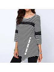 Casual Stripe T-Shirt With Button Detail