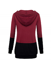 V Collar Splicing Pocket Long Sleeves Hoodie