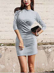 Crew Neck  Inverted Pleat  Bust Darts  Plain Bodycon Dresses
