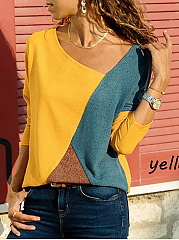 Asymmetric Neck  Patchwork  Contrast Stitching Sweatshirts