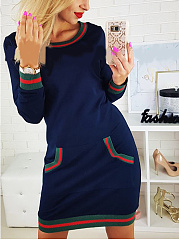 Scoop Neck  Patch Pocket  Contrast Stitching  Striped Bodycon Dresses