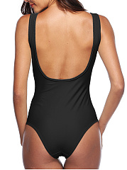 Simple Bikini One-Piece Swimwear With Chest Pad