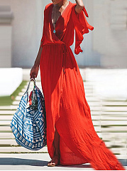 V-Neck Chiffon Casual Wrap Maxi Dress
