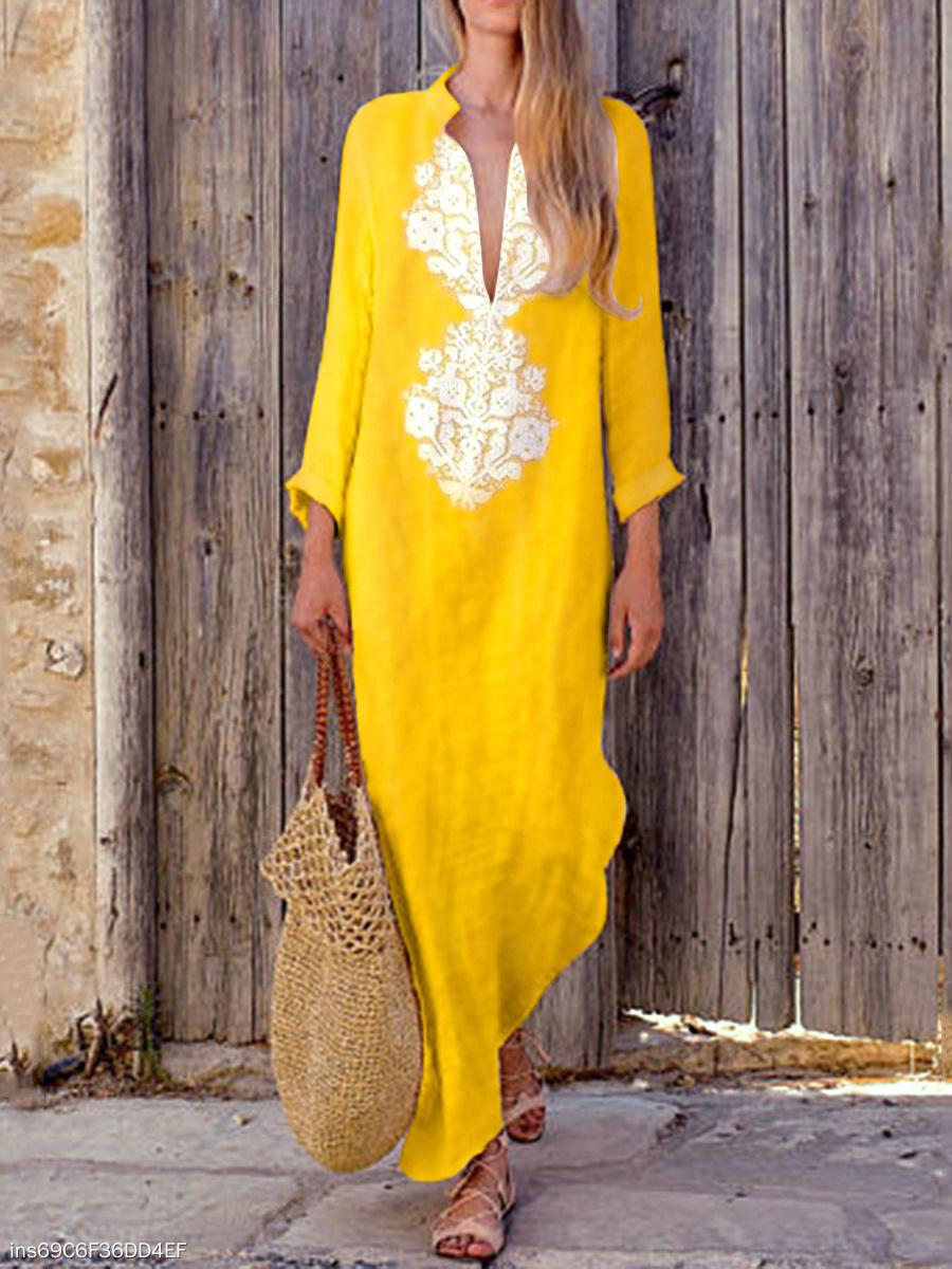 13150f13c85 Fashionable Cotton Line Casual V-Neck Yellow Boho Shift Dress ...