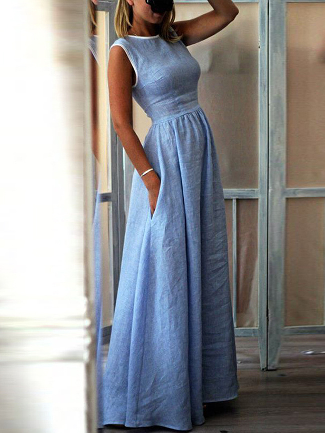 Fashionmia Elegant High-Waisted Pocket Holiday Maxi Dress