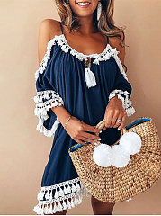 Bohemian Off Shoulder Casual Shift Dress
