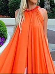 Sleeveless Round Neck Chiffon Beach Maxi Dress