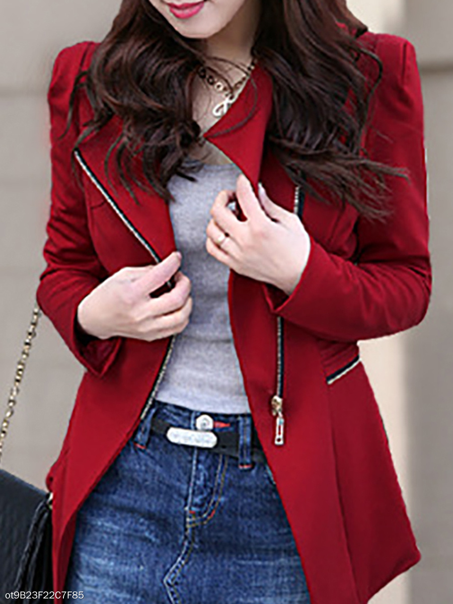 Elegant Pure Color Oblique Collar Irregular Long-Sleeved Blazer