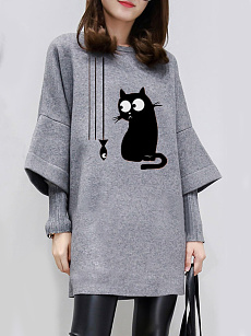 Round Neck  Patchwork  Animal Printed Shift Dress