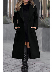 Fold Over Collar  Single Button  Plain Outerwear