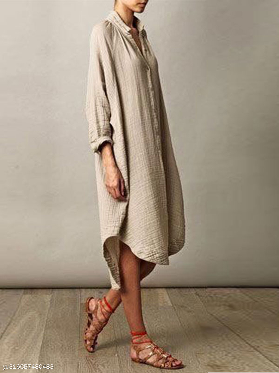 Deep V-Neck Roll-Up Sleeve Casual Dress