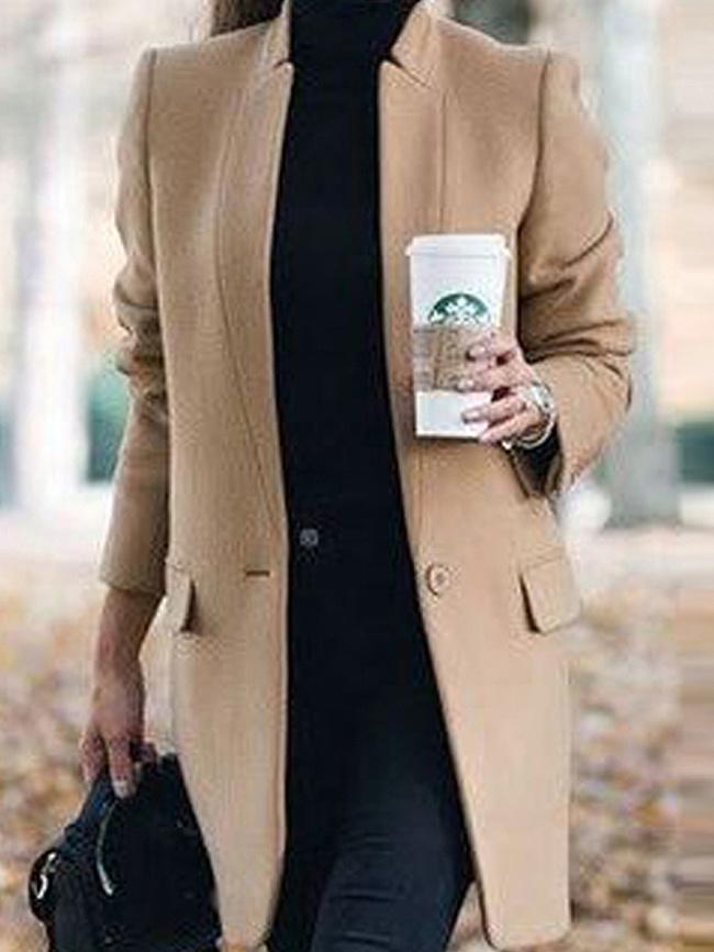 Image of Fashionmia Band Collar Plain Long Sleeve Coats