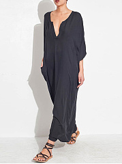 V Neck Plain Cotton/Linen Maxi Dress