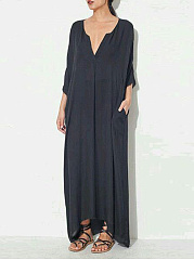 V Neck Plain CottonLinen Maxi Dress