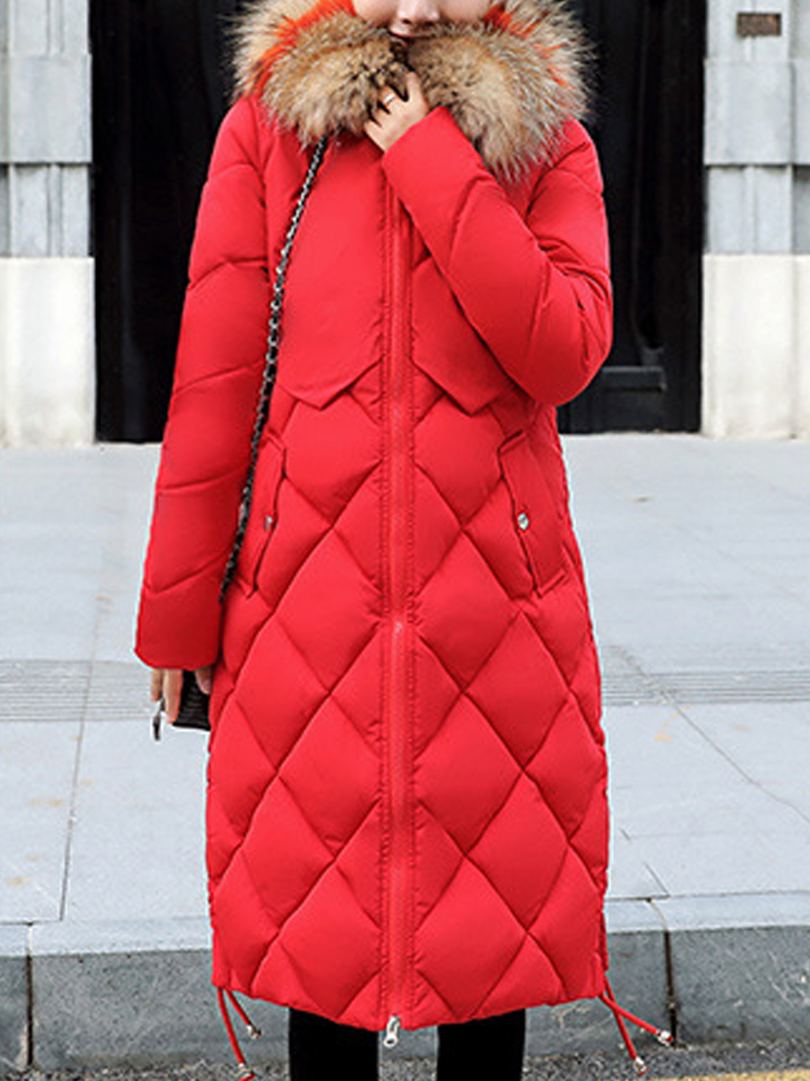 Plain Thick Hooded Down Coat